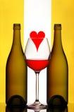 Conjunto del vino de la tarjeta del día de San Valentín Fotos de archivo