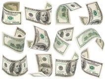 Conjunto del vuelo 100 dólares de billetes de banco Fotografía de archivo libre de regalías