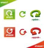 Conjunto dimensional del icono de la actualización y de la mejora Imagen de archivo libre de regalías