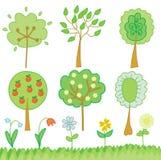 Conjunto divertido de árboles y de flores Imagenes de archivo