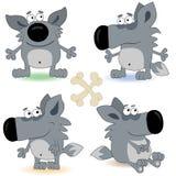 Conjunto divertido del cachorro de lobo Imágenes de archivo libres de regalías