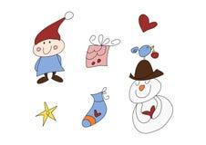 Conjunto divertido del doodle de la Navidad Fotografía de archivo libre de regalías