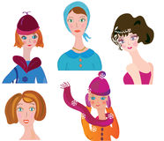 Conjunto divertido del icono de las mujeres Fotografía de archivo libre de regalías
