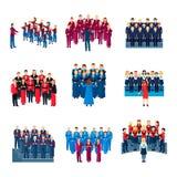 Conjunto do canto do coro coleção lisa dos ícones ilustração stock