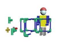 Conjunto dos trabalhadores da construção 3D Imagens de Stock Royalty Free