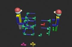 Conjunto dos trabalhadores da construção 3D Imagem de Stock Royalty Free