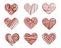 Conjunto drenado mano del corazón Foto de archivo