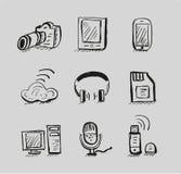 Conjunto drenado mano del icono del negro del vector de los dispositivos móviles Imágenes de archivo libres de regalías