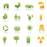 Conjunto ecológico del icono Ilustración del Vector