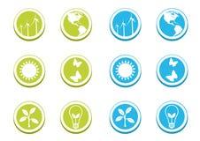 Conjunto ecológico del icono stock de ilustración