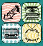 Conjunto eléctrico del icono de la vendimia Imagen de archivo libre de regalías
