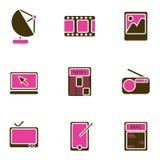 Conjunto electrónico del icono del objeto Imágenes de archivo libres de regalías