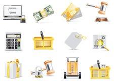 Conjunto en línea del icono de las compras del vector Fotografía de archivo