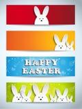 Conjunto feliz del conejito del conejo de Pascua de banderas Fotos de archivo