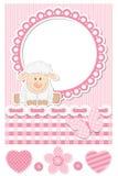 Conjunto feliz del libro de recuerdos del color de rosa de las ovejas del bebé Imagen de archivo libre de regalías