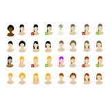Conjunto femenino del icono de los avatares vectored Imagen de archivo libre de regalías