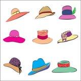 Conjunto femenino del icono del sombrero Fotografía de archivo libre de regalías
