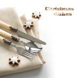 Conjunto festivo de la cuchillería Foto de archivo libre de regalías