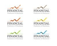 Conjunto financiero o del asunto corporativo de la insignia del modelo ilustración del vector
