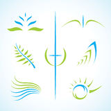 Conjunto floral abstracto de la insignia del vector Imagenes de archivo