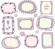 Conjunto floral del marco del doodle lindo Foto de archivo libre de regalías