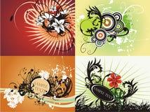 Conjunto fresco floral creativo del gráfico Fotos de archivo