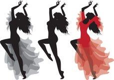 Conjunto gitano de la silueta de la danza del flamenco ilustración del vector
