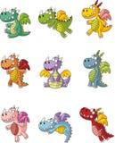 Conjunto gordo del icono del dragón del fuego de la historieta Imagenes de archivo