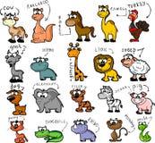 Conjunto grande de animales de la historieta Imagen de archivo