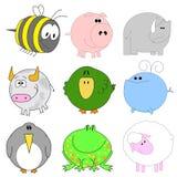 Conjunto grande de animales divertidos Imagenes de archivo