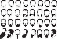 Conjunto grande de barbas de los hombres Foto de archivo libre de regalías