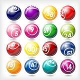 Conjunto grande de bolas coloridas del bingo o de la lotería Fotografía de archivo libre de regalías