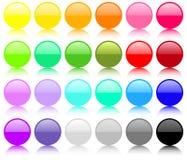 Conjunto grande de botones redondos Fotos de archivo