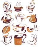 CONJUNTO grande de café del vector, elementos del té Imagenes de archivo
