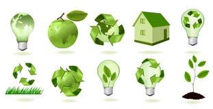Conjunto grande de iconos de la ecología. Vector. Foto de archivo libre de regalías