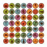 Conjunto grande de iconos del alimento Fotos de archivo libres de regalías