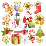 Conjunto grande de la Navidad imagen de archivo