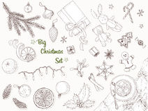 Conjunto grande de la Navidad Foto de archivo