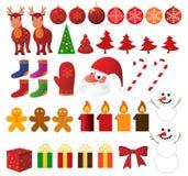 Conjunto grande de la Navidad Fotos de archivo