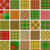 Conjunto grande de modelos de la tela escocesa de la Navidad Fotografía de archivo libre de regalías