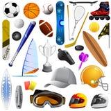 Conjunto grande de objetos del deporte Fotografía de archivo