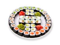 Conjunto grande del rodillo del sushi Fotografía de archivo libre de regalías
