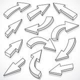 Conjunto ilustrado de flechas stock de ilustración