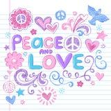 Conjunto incompleto del vector de los Doodles del cuaderno de la paz y del amor stock de ilustración