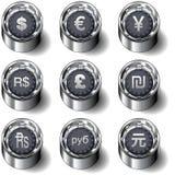 Conjunto internacional del botón del vector del dinero en circulación Fotos de archivo