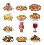 Conjunto italiano del icono del alimento de la historieta stock de ilustración