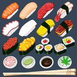 Conjunto japonés de la colección del sushi Imagen de archivo libre de regalías