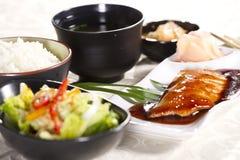 Conjunto japonés de los salmones Imágenes de archivo libres de regalías