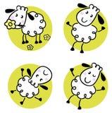 Conjunto lindo de las ovejas del doodle Imágenes de archivo libres de regalías