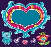 Conjunto lindo del día de tarjeta del día de San Valentín Fotografía de archivo libre de regalías